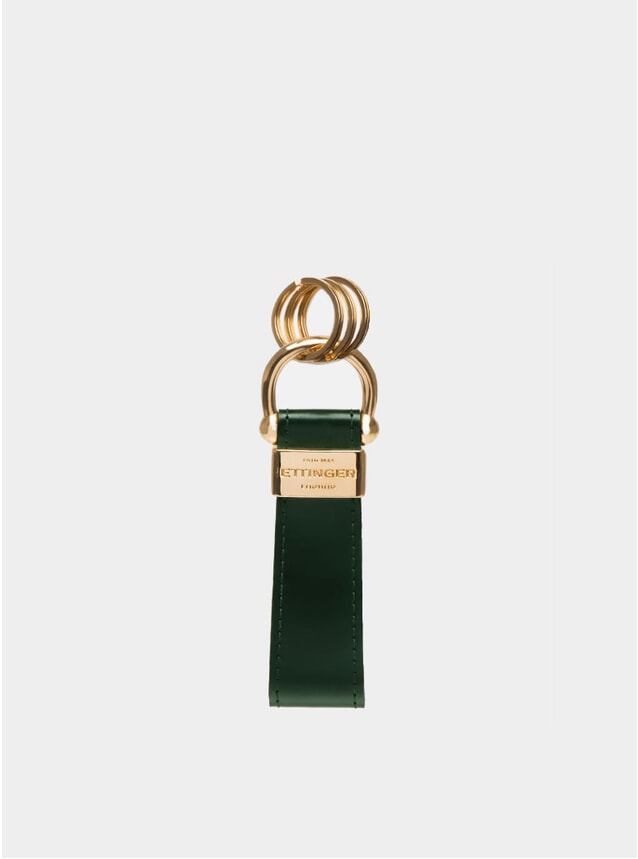 Green / London Tan Bridle Hide Stirrup Keyring