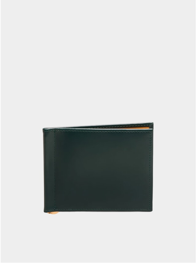 Green / London Tan Money Clip Wallet