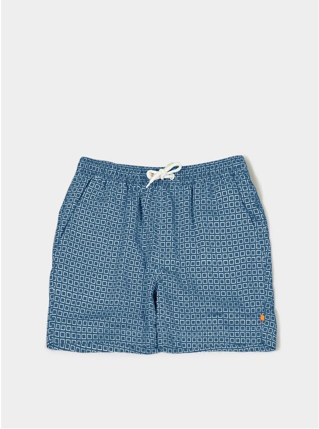 Blue Hip Square Printed Swim Shorts