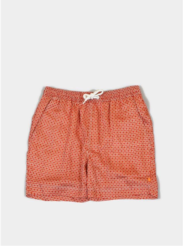 Red Hip Square Printed Swim Shorts