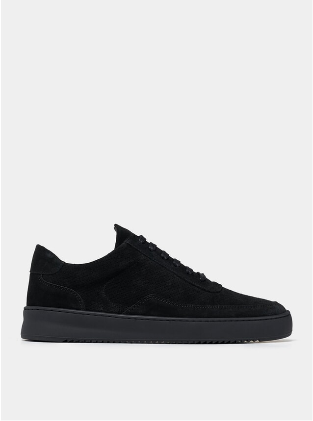All Black Low Mondo Ripple Suede Perforated Sneakers