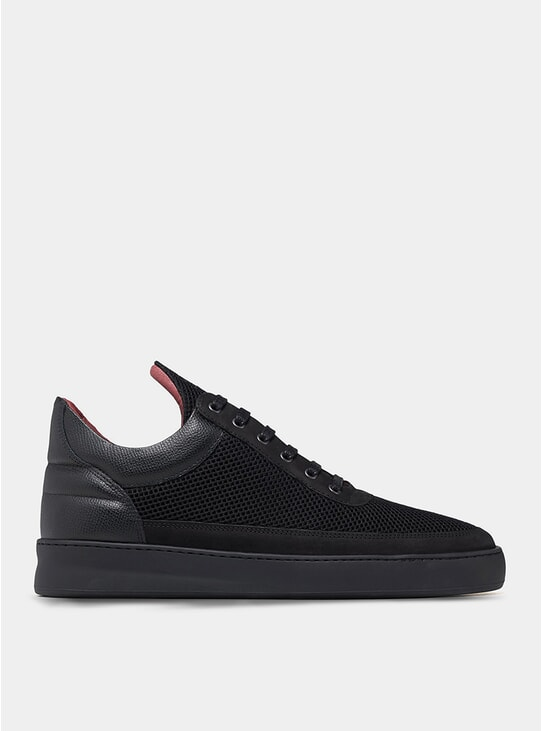 All Black Low Top Plain Infinity Sneakers