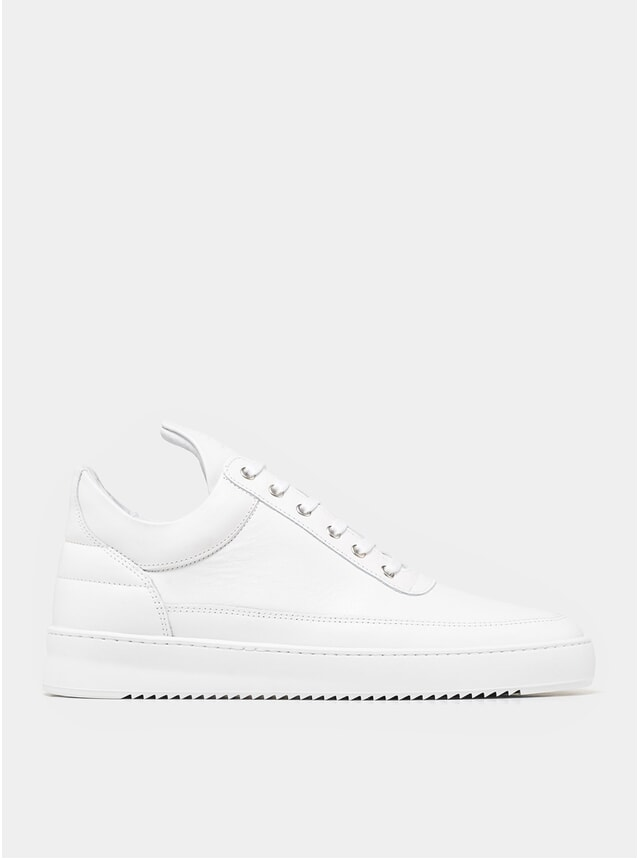 All White Low Top Ripple Nappa Sneakers