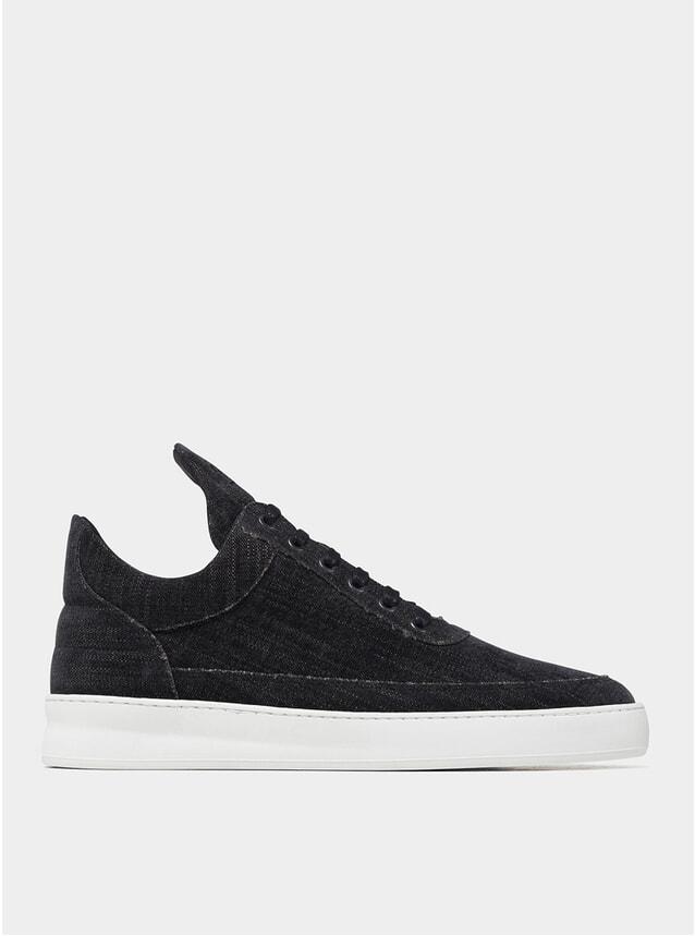 Black Low Top Plain Vuora Sneakers