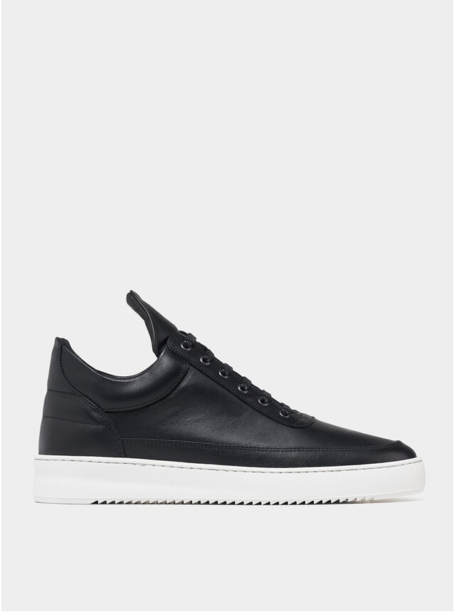 Black Low Top Ripple Nappa Sneakers