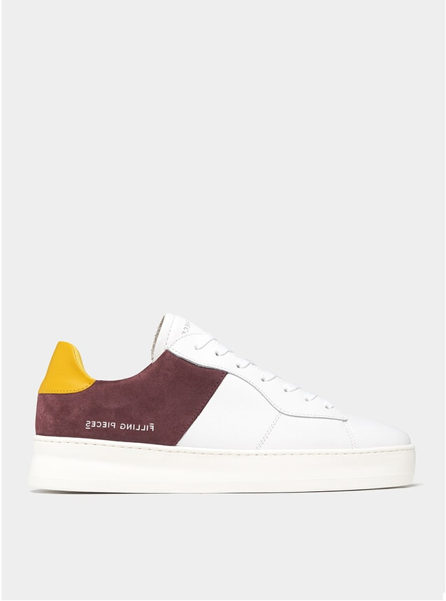 Burgundy Low Plain Court Sneakers