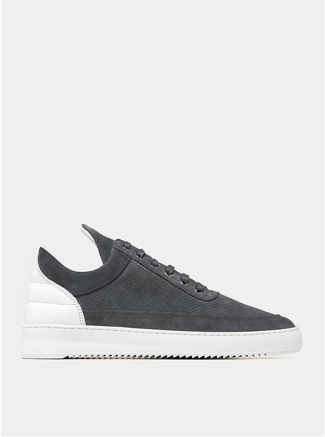 Dark Grey Perforated Ripple Low Top Sneakers