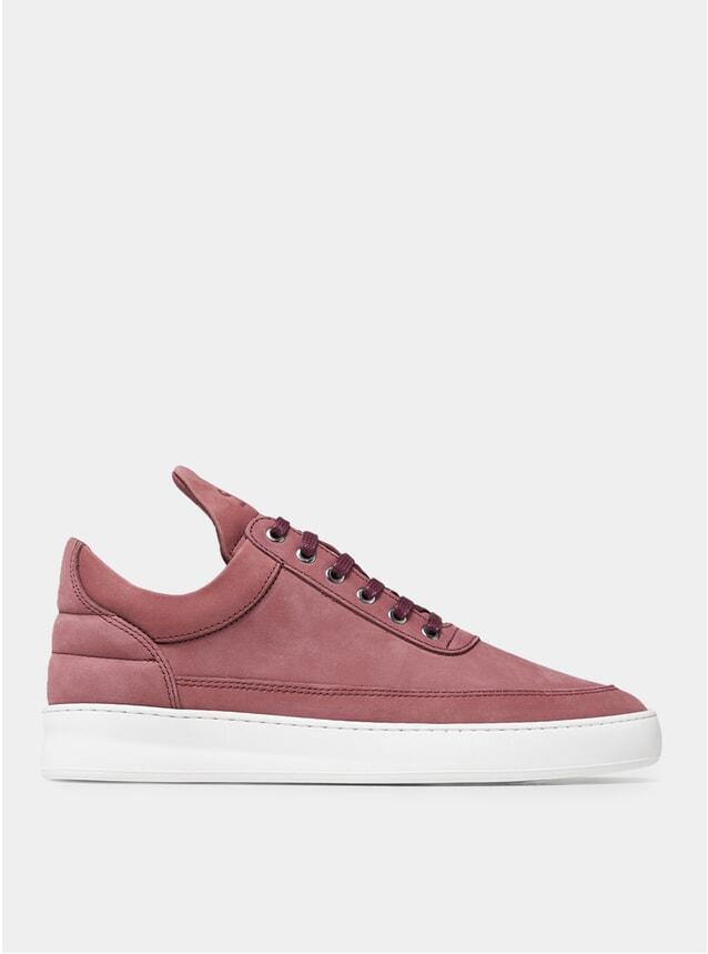 Maroon Nubuck Low Top Sneakers