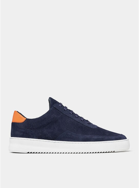 Navy Low Mondo Ripple Suede Perforated Sneakers