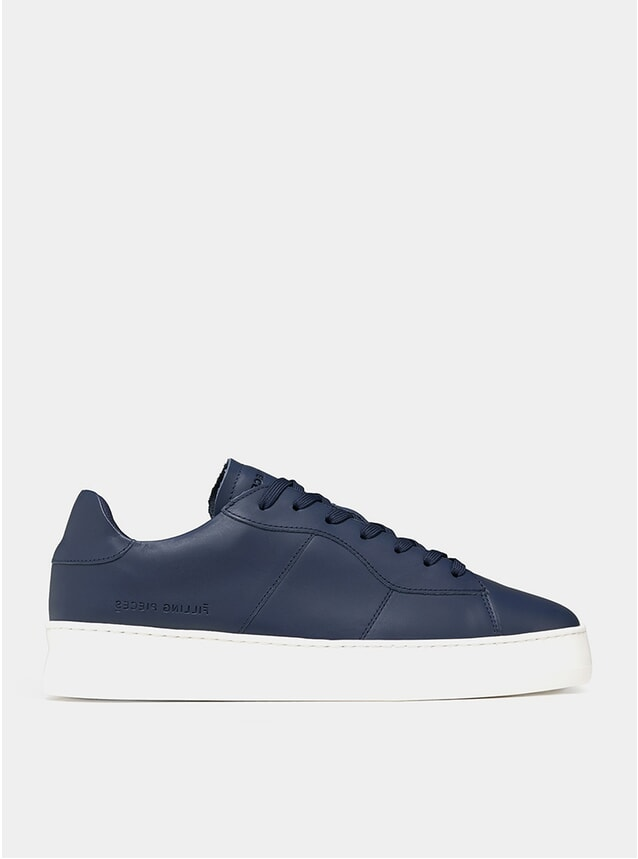 Navy Low Plain Court Sneakers