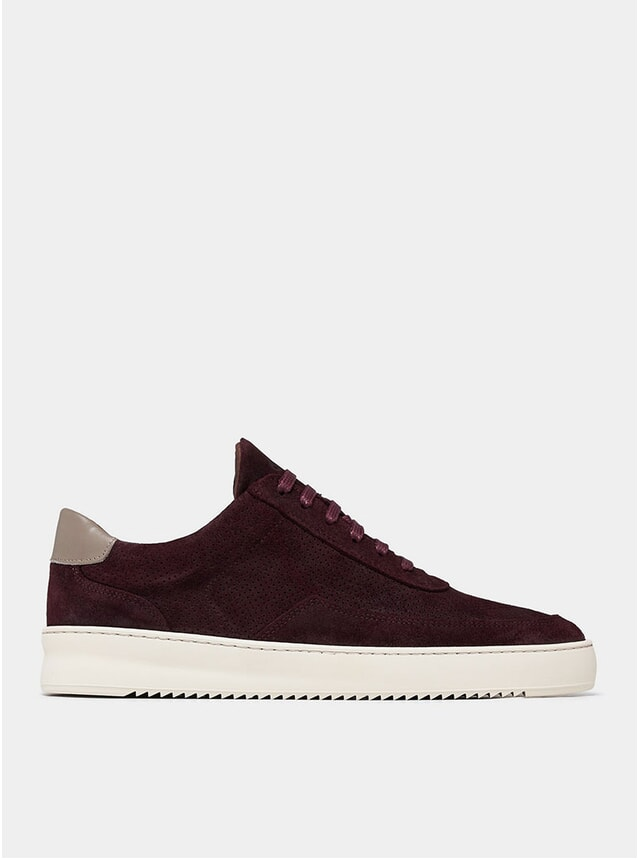 Ox Blood Low Mondo Ripple Suede Perforated Sneakers