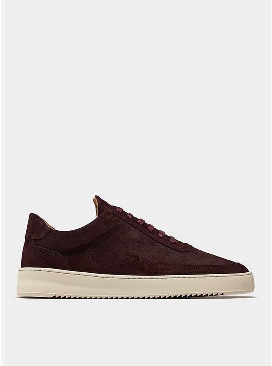 Ox Blood Low Mondo Ripple Suede Sneakers
