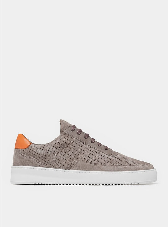 Taupe / Orange Perforated Suede Low Mondo Ripple Sneakers