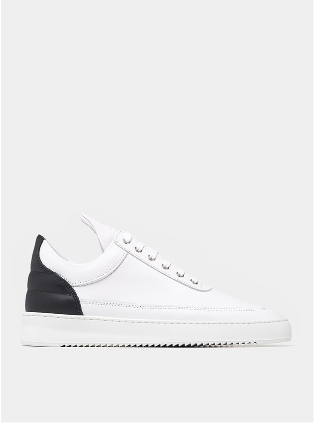 White / Black Low Top Ripple Nappa Sneakers