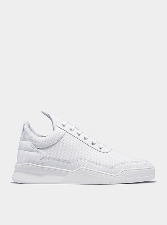 White Low Top Ghost Nappa Perforated  Sneakers