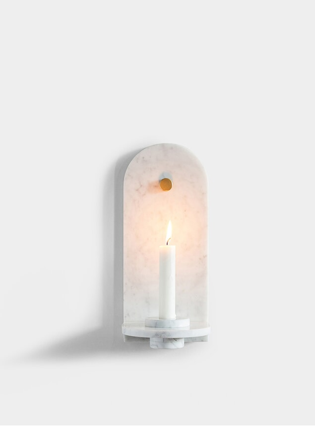 White Stone Candle Sconce
