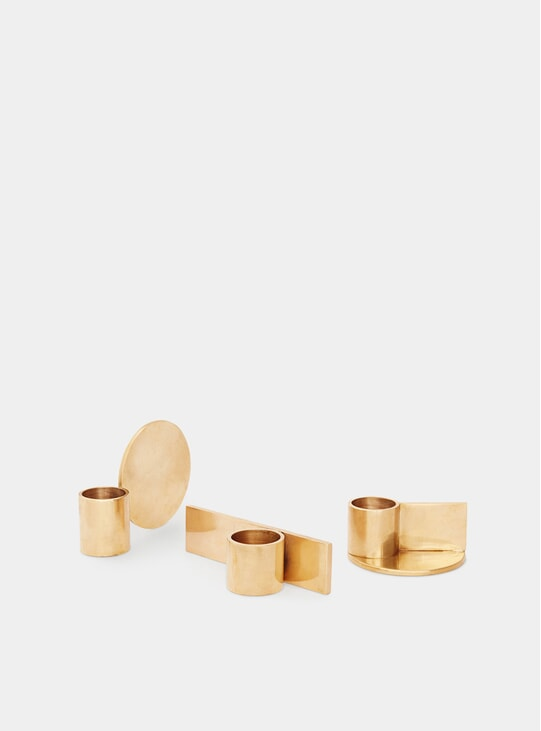 Brass Fundament Candle Holders Set