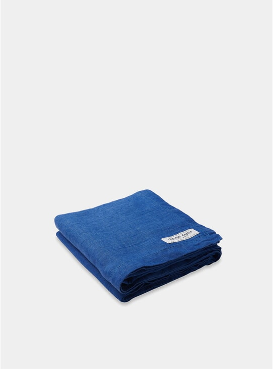 Blue Linen Beach Towel