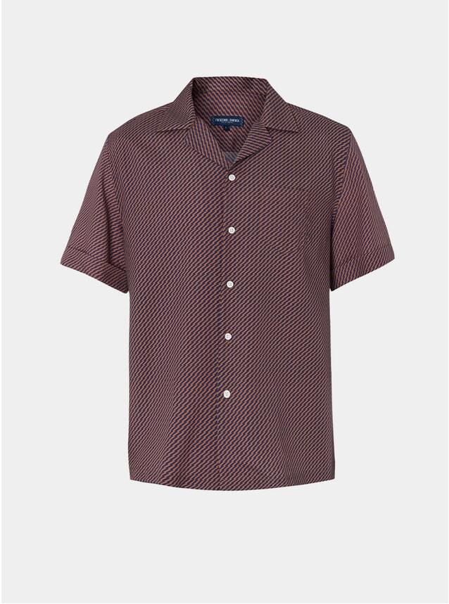 Navy / Chestnut Pepe Camp Collar Shirt