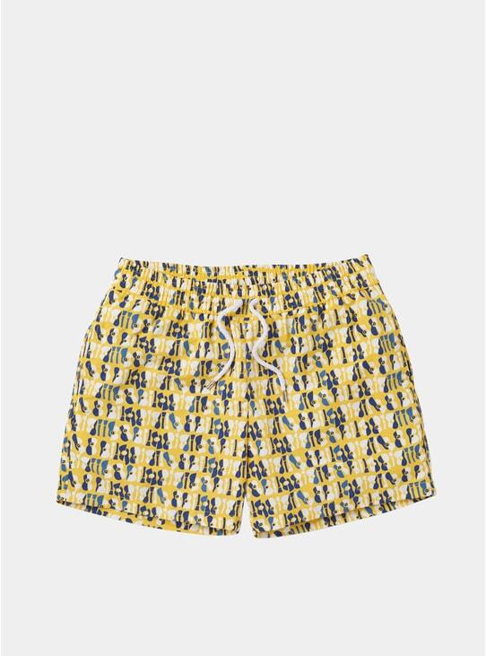 Lemon / Navy Violao Sport Swim Shorts