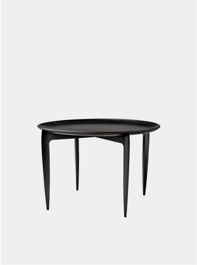 Black Lacquered Oak Large Tray Table