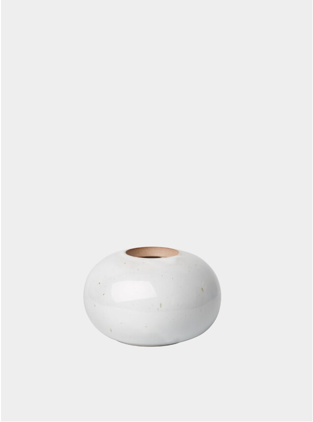Pale Grey Round Earthenware Vase