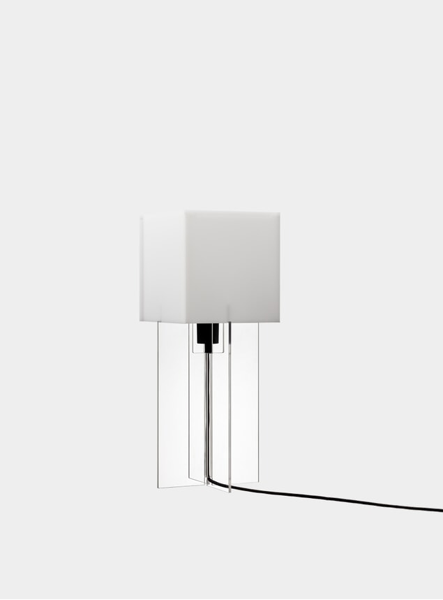 Tall White Cross-Plex Desk Lamp