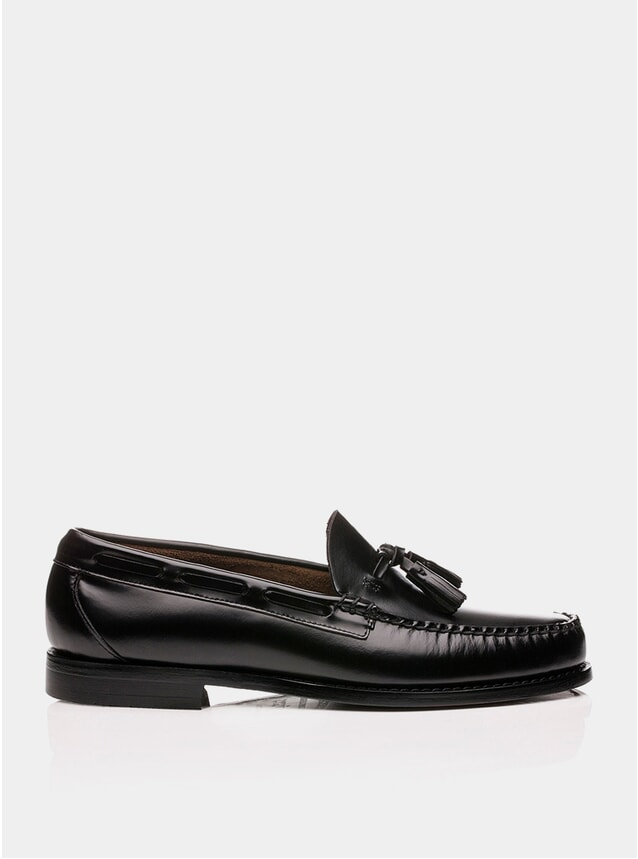 Black Larkin Tassel Leather Loafers