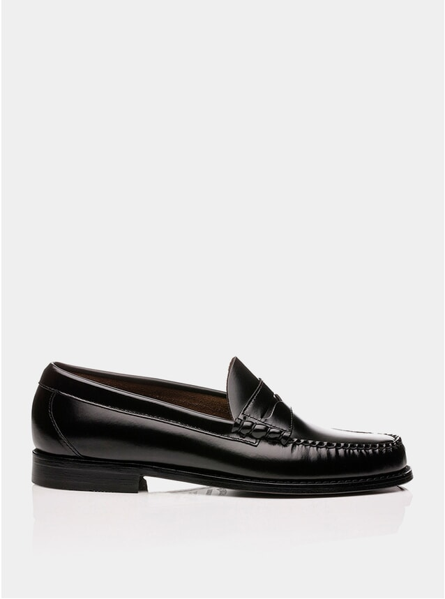 Black Leather Larson Penny Loafers