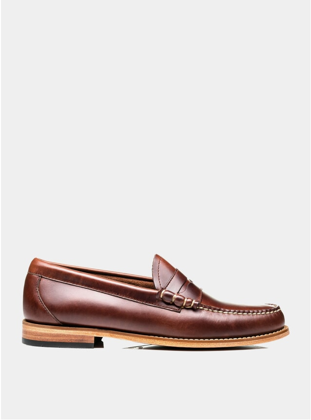 Dark Brown Leather Larson Pull Up Loafers