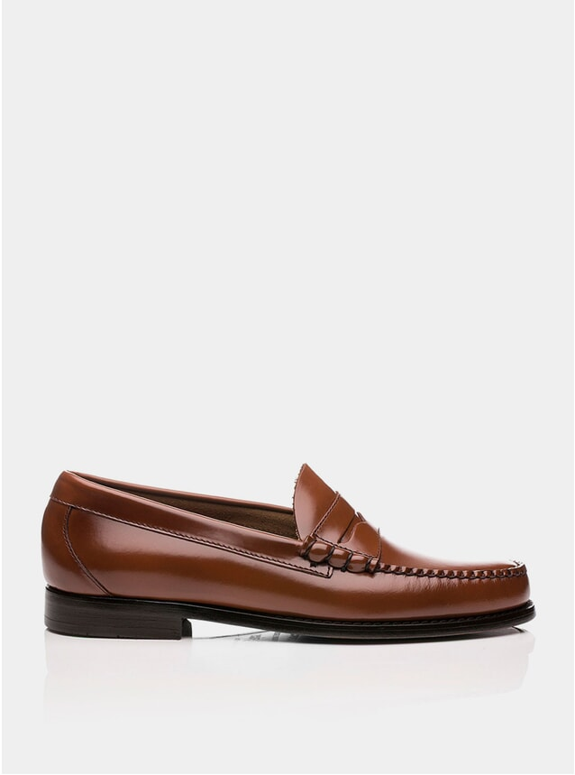 Mid Brown Leather Larson Penny Loafers