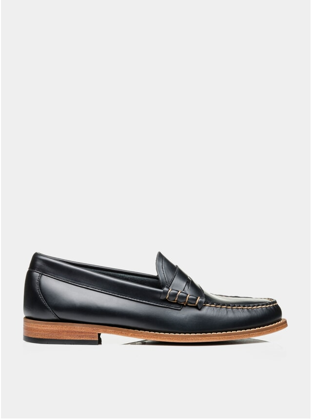 Navy Leather Larson Pull Up Loafers