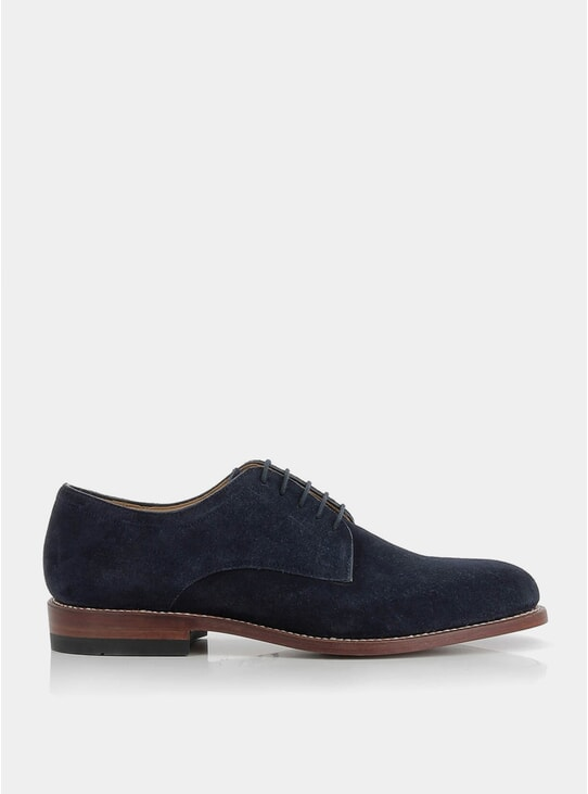 Navy Suede Monogram II Derby Shoes