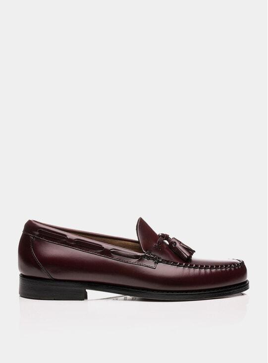 Wine Larkin Tassel Leather Loafers