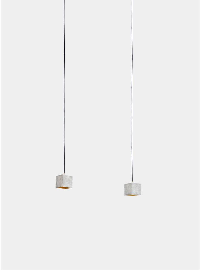 Light Grey Concrete  / Gold Rectangular B1 Pendant Light