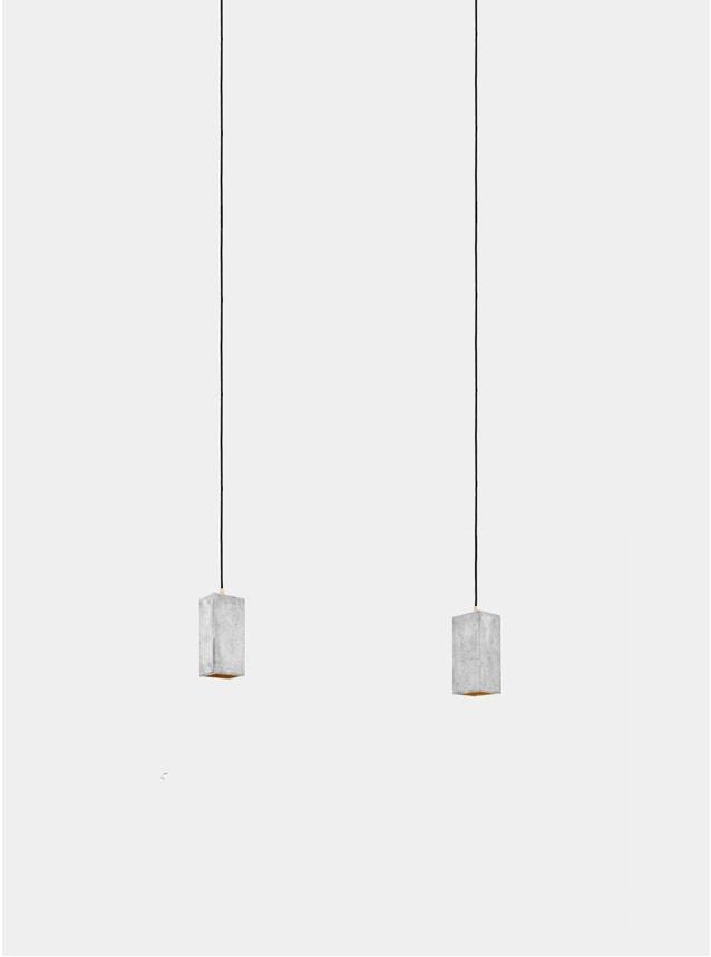 Light Grey Concrete  / Gold Rectangular B2 Pendant Light