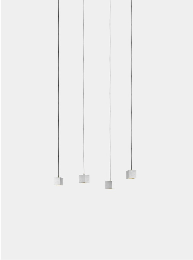 Light Grey Concrete  / Silver Rectangular B6 Pendant Light