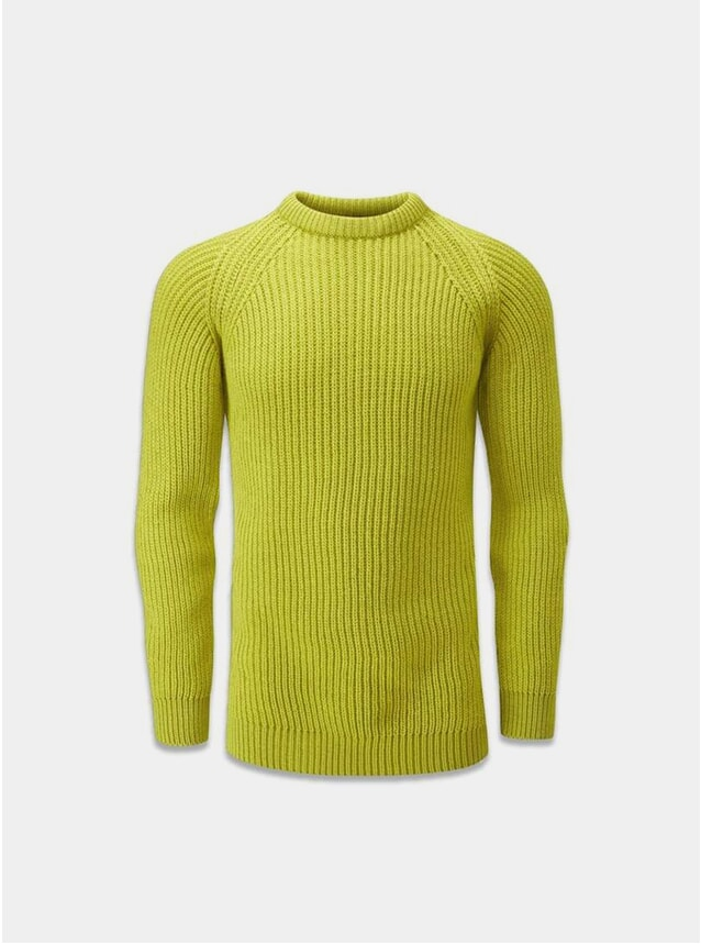 Lime Ribbed Fisherman Jumper