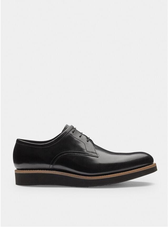 Black Shine Lennie Wedge Derby Shoes