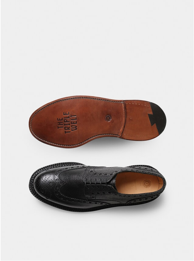 Black Triple Welt Grain Archie Brogues