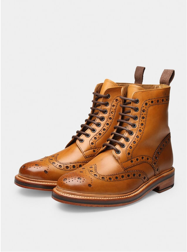 Tan Fred Brogue Boots