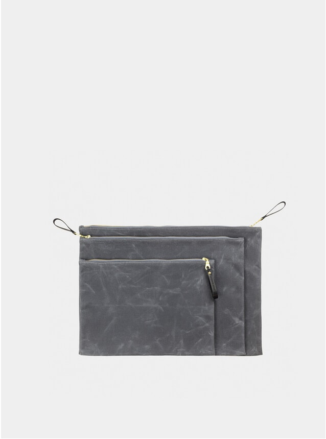 Grey / Black Waxed Canvas Zip Folio