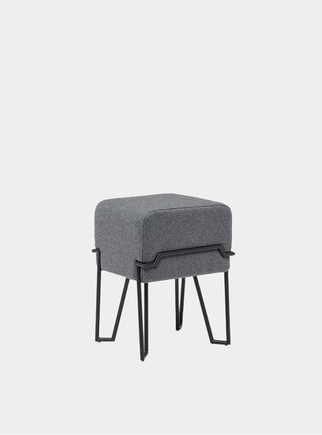Grey Felt Low Bokk Stool