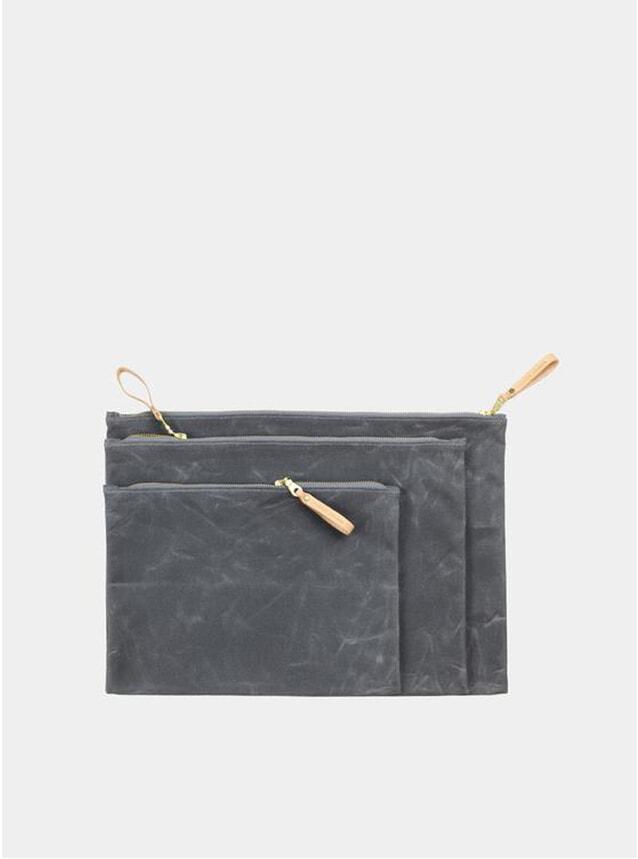 Grey / Nat Waxed Canvas Zip Folio