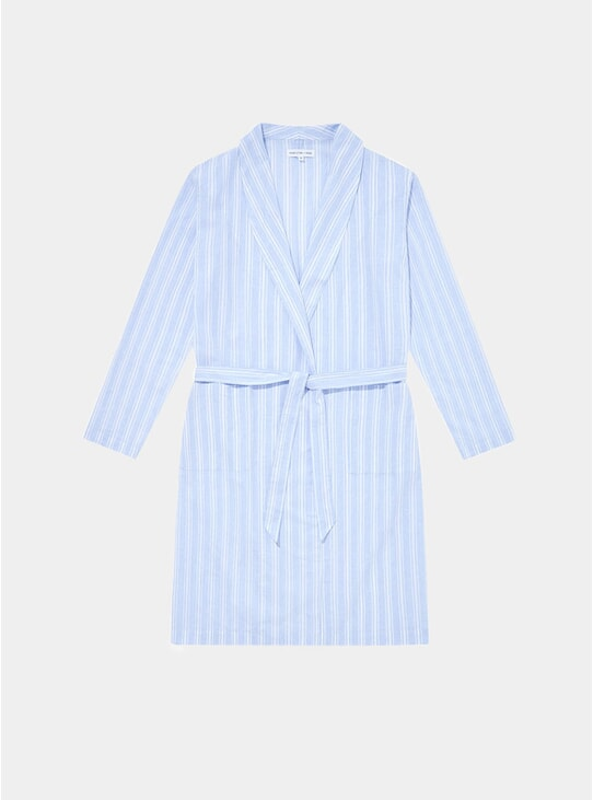 Blue Stripes Relax Linen Cotton Robe