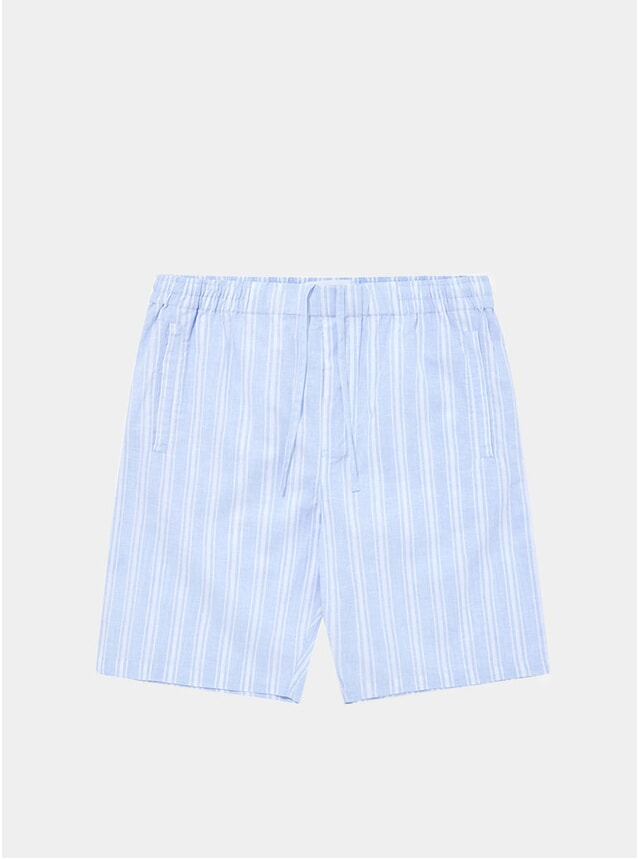 Blue Stripes Timeout Drawstring Linen-Cotton Shorts