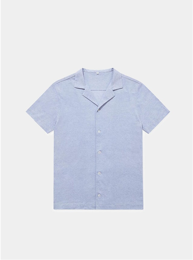 Cloud Blue Pique Open Collar Shirt