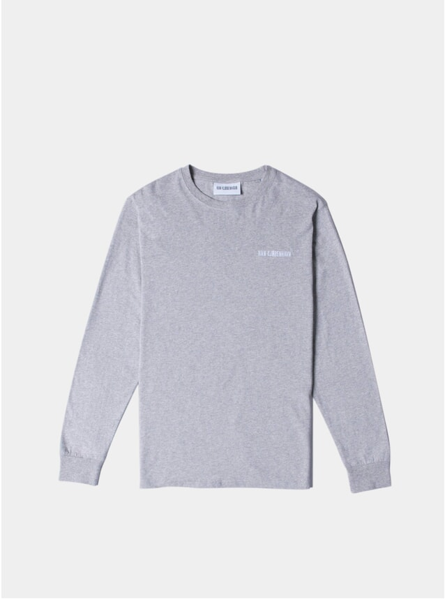 Grey Melange Logo Casual Long Sleeve T Shirt