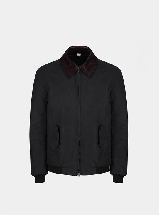 Black Waxed Cotton Blouson