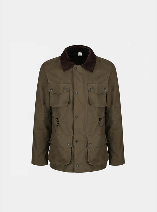Olive Waxed Cotton Biker Coat